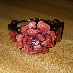 Marbled Enamel Flower Cuff Bracelet